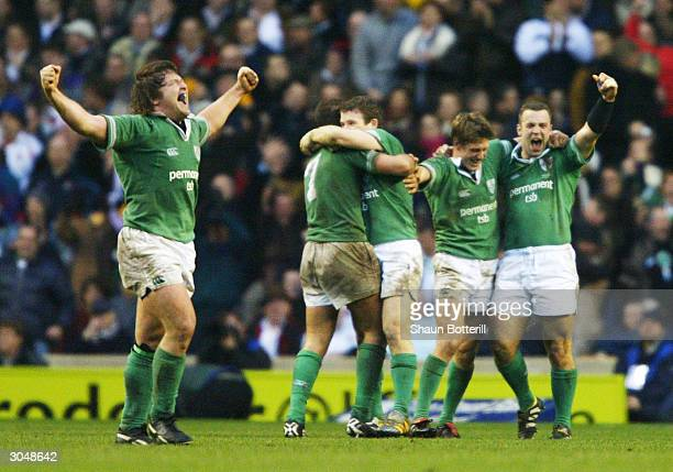 Shane Byrne of Ireland celebrates their victory with his team mates during the RBS Six Nations match between England and Ireland at Twickenham on...