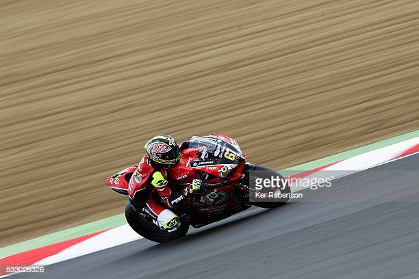 Shane Byrne of the Be Wiser Ducati team rides during practice for the British Superbike Championship at Brands Hatch on May 20 2016 in Longfield...