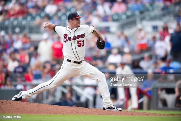 Shane Carle of the Atlanta Braves pitches against the Philadelphia Phillies in the 9th inning at SunTrust Park on September 23 2018 in Atlanta Georgia