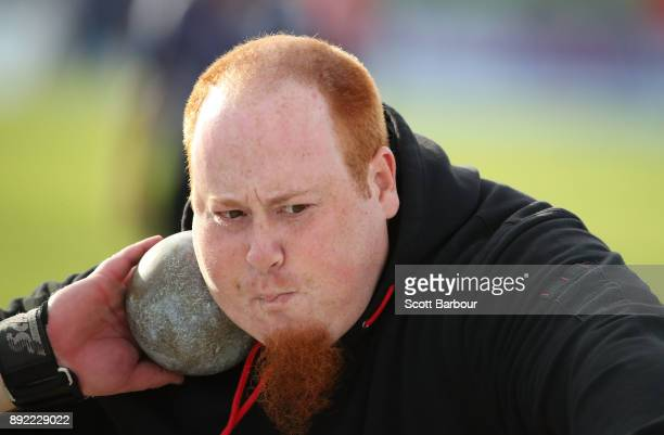 Shane Carstairs of Athletics Waverley competes in the Mens Shot Put Open during Zatopek 10 at Lakeside Stadium on December 14 2017 in Melbourne...