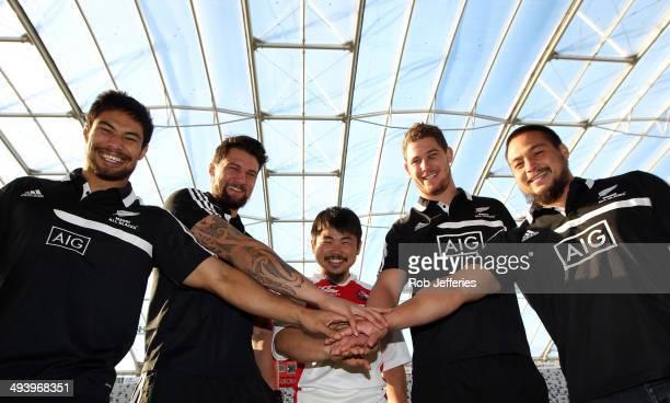 Shane Christie, Elliot Dixon, Fumiaki Tanaka of Japan, Joe Wheeler and Kane Hames pose for a photo during the Maori All Blacks 2014 Asian Tour...