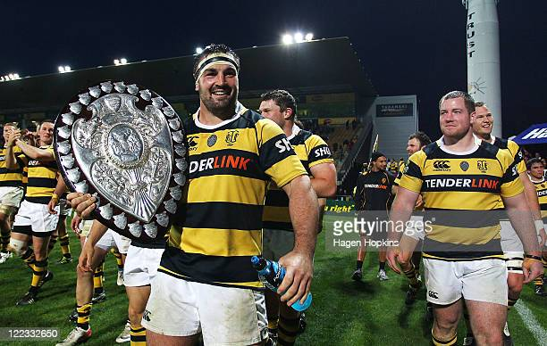 Shane Cleaver of Taranaki hold the Ranfurly shield during the round 13 ITM Cup match between Taranaki and Hawke's Bay at Yarrow Stadium on August 28...