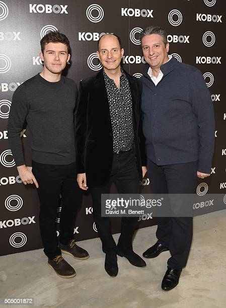 Shane Collins Kennie Shahmoom and Joe Cohen attend KOBOX the UK's first boutique boxing gym launched officially tonight with Cheryl FernandezVersini...