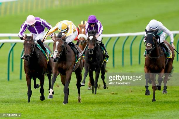 Shane Crosse riding Pretty Gorgeous win The bet365 Fillies' Mile at Newmarket Racecourse on October 09, 2020 in Newmarket, England. Owners are...