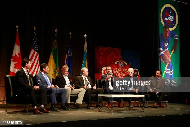 Shane Doan Kris King Dave Ellett Thomas Steen Jamie Macoun Lanny McDonald and Elliotte Friedman attend the Legacy Luncheon as part of the 2019 Tim...
