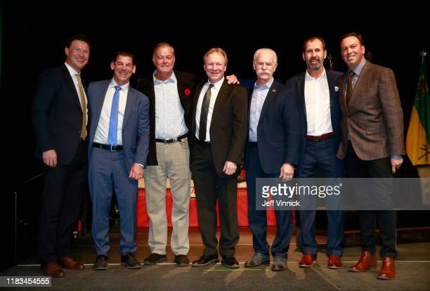 Shane Doan Kris King Dave Ellett Thomas Steen Lanny McDonald Jamie Macoun and Elliotte Friedman attend the Legacy Luncheon as part of the 2019 Tim...