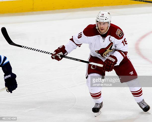 Shane Doan of the Arizona Coyotes follows the play down the ice during third period action against the Winnipeg Jets on January 18 2015 at the MTS...