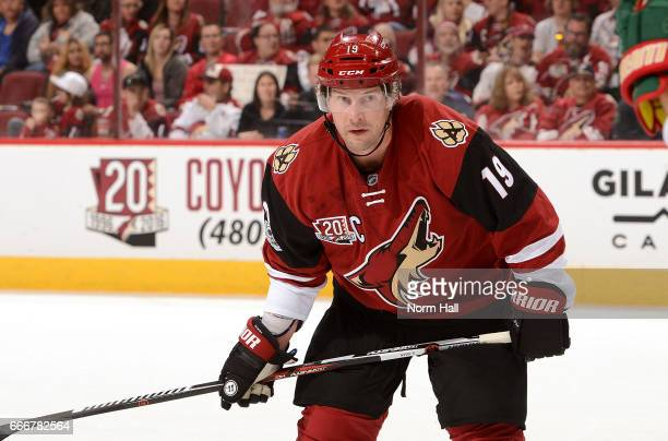 Shane Doan of the Arizona Coyotes gets ready during a faceoff against the Minnesota Wild at Gila River Arena on April 8 2017 in Glendale Arizona