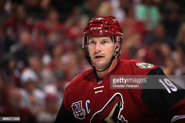 Shane Doan of the Arizona Coyotes in action during the second period of the NHL game against the Minnesota Wild at Gila River Arena on April 8 2017...
