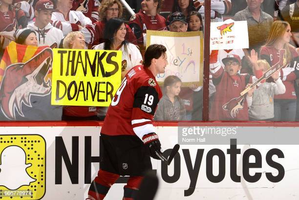 Shane Doan of the Arizona Coyotes prepares for a game against the Minnesota Wild at Gila River Arena on April 8 2017 in Glendale Arizona