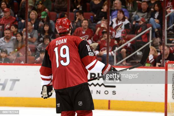 Shane Doan of the Arizona Coyotes skates across the ice during a stop in play against the Minnesota Wild at Gila River Arena on April 8 2017 in...