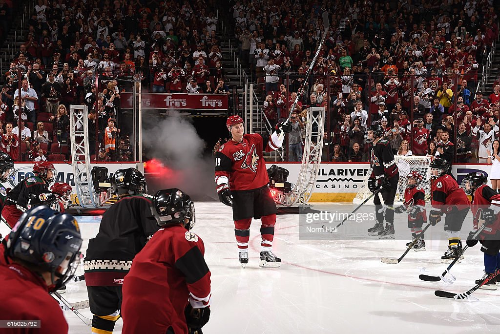 Shane Doan #19 of the Arizona Coyotes skates onto the ice during pregame introductions against the Philadelphia Flyers at Gila River Arena on October 15, 2016 in Glendale, Arizona.