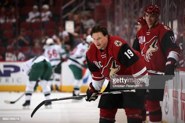 Shane Doan of the Arizona Coyotes warms up before the NHL game against the Minnesota Wild at Gila River Arena on April 8 2017 in Glendale Arizona