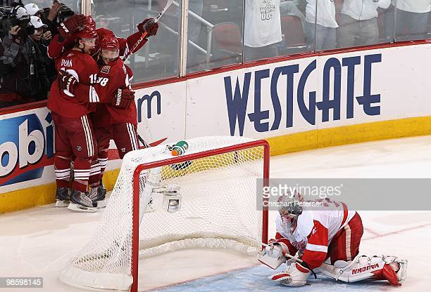 Shane Doan of the Phoenix Coyotes celebrates with teammates Vernon Fiddler Taylor Pyatt and Keith Yandle after Doan scored a third period goal...