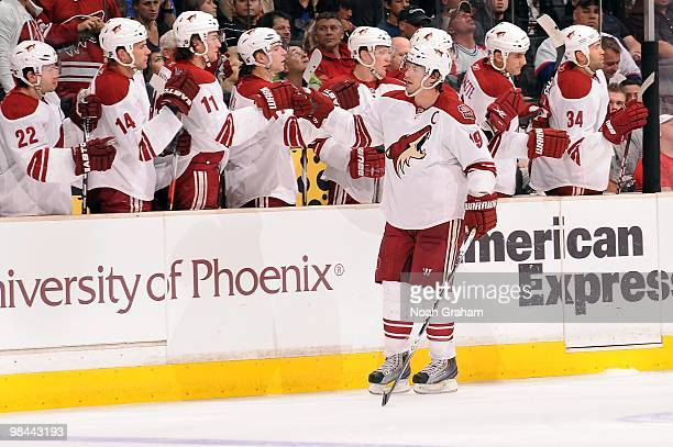 Shane Doan of the Phoenix Coyotes celebrates with the bench after a goal against the Los Angeles Kings on April 8 2010 at Staples Center in Los...