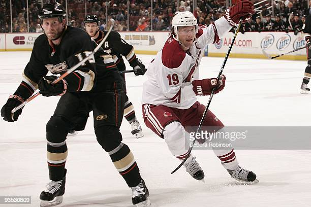 Shane Doan of the Phoenix Coyotes defends against Ryan Whitney of the Anaheim Ducks during the game on November 29 2009 at Honda Center in Anaheim...