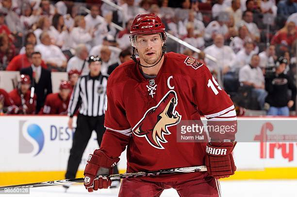 Shane Doan of the Phoenix Coyotes gets ready during a face off against the Detroit Red Wings in Game Two of the Western Conference Quarterfinals...