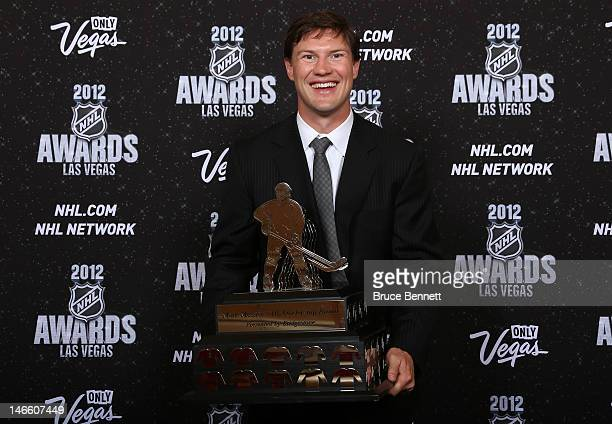 Shane Doan of the Phoenix Coyotes poses after winning the Mark Messier NHL Leadership Award presented by Bridgestone during the 2012 NHL Awards at...