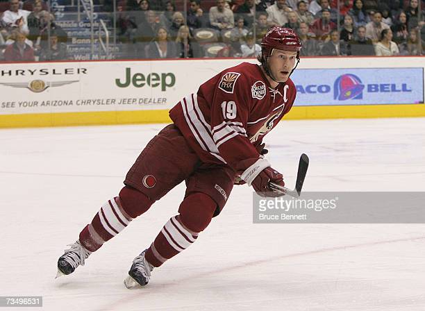 Shane Doan of the Phoenix Coyotes skates against the Columbus Blue Jackets during their NHL game on March 3 2007 at the Jobingcom Arena in Phoenix...