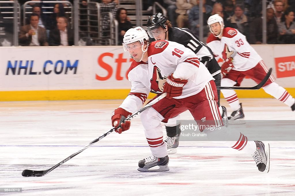 Shane Doan #19 of the Phoenix Coyotes skates with the puck against the Los Angeles Kings on April 8, 2010 at Staples Center in Los Angeles, California.