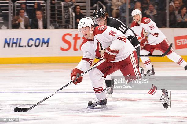 Shane Doan of the Phoenix Coyotes skates with the puck against the Los Angeles Kings on April 8 2010 at Staples Center in Los Angeles California