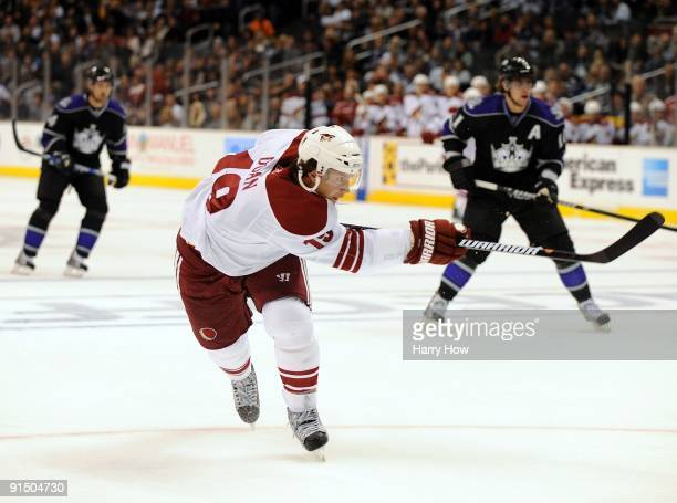Shane Doan of the Phoenix Coyotes takes a shot against the Los Angeles Kings during the game at the Staples Center on October 3 2009 in Los Angeles...