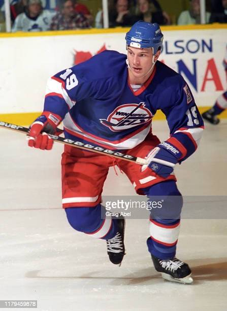 Shane Doan of the Winnipeg Jets skates against the Toronto Maple Leafs during NHL game action on November 18, 1995 at Maple Leaf Gardens in Toronto,...