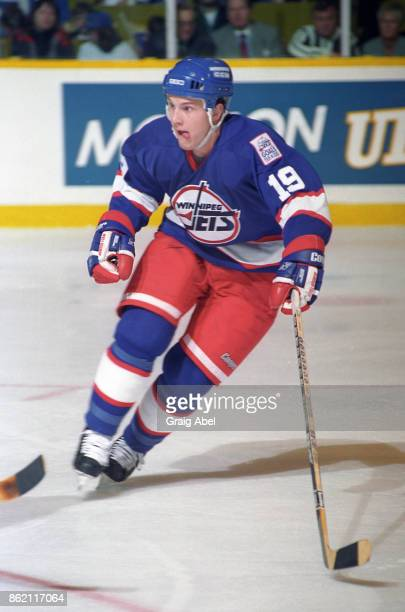 Shane Doan of the Winnipeg Jets skates against the Toronto Maple Leafs during NHL game action on March 13 1996 at Maple Leaf Gardens in Toronto...