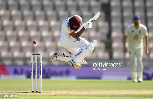 Shane Dowrich of the West Indies avoids a short ball during day five of the 1st #RaiseTheBat Test match at The Ageas Bowl on July 12, 2020 in...
