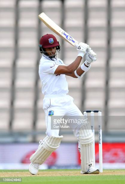 Shane Dowrich of the West Indies bats during Day Three of the 1st #RaiseTheBat Test Series between England and The West Indies at The Ageas Bowl on...