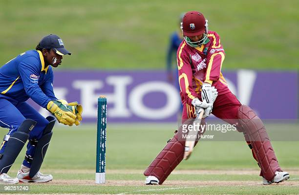 Shane Dowrich of the West Indies bats during the ICC U19 Cricket World Cup Super League quarter final between West Indies and Sri Lanka at QE II Park...
