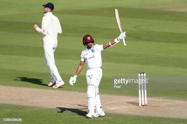 Shane Dowrich of the West Indies celebrates his half century during Day Three of the 1st #RaiseTheBat Test Series between England and The West Indies...