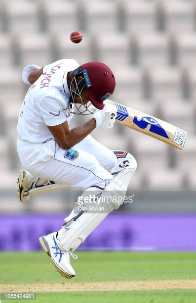 Shane Dowrich of the West Indies ducks as he attempts to dodge the ball during Day Three of the 1st #RaiseTheBat Test Series between England and The...