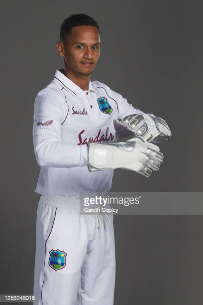 Shane Dowrich of the West Indies poses for a portrait at Emirates Old Trafford on June 28, 2020 in Manchester, England.