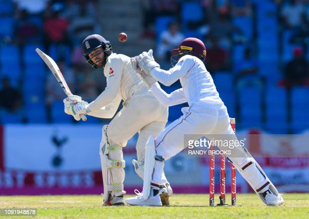 Shane Dowrich of West Indies attempts to catch Ben Foakes of England during day 1 of the 2nd Test between West Indies and England at Vivian Richards...