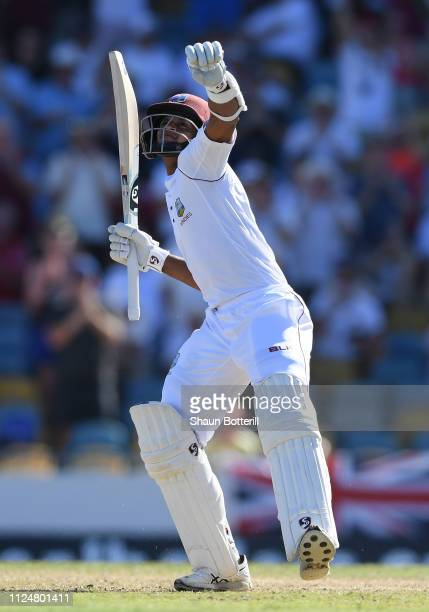 Shane Dowrich of West Indies celebrates reaching his 100 during Day Three of the First Test match between England and West Indies at Kensington Oval...