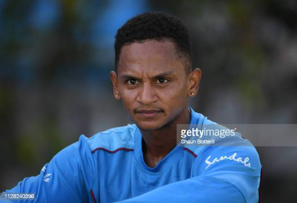 Shane Dowrich of West Indies during a net session at Darren Sammy National Cricket Stadium on February 08, 2019 in Gros Islet, Saint Lucia.