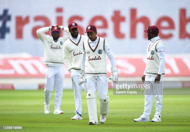 Shane Dowrich of West Indies leaves the field after being hit in the face by the ball during Day Three of the Ruth Strauss Foundation Test, the Third...