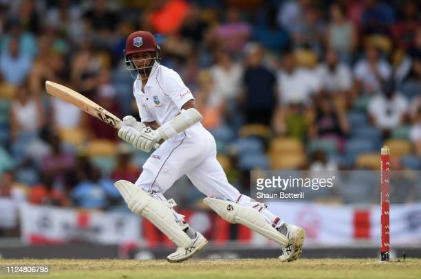 Shane Dowrich of West Indies plays a shot during Day Three of the First Test match between England and West Indies at Kensington Oval on January 25,...