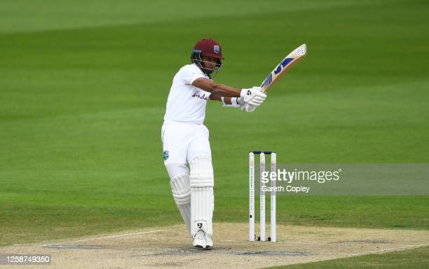 Shane Dowrich of West Indies plays a shot during Day Three of the Ruth Strauss Foundation Test, the Third Test in the #RaiseTheBat Series match...