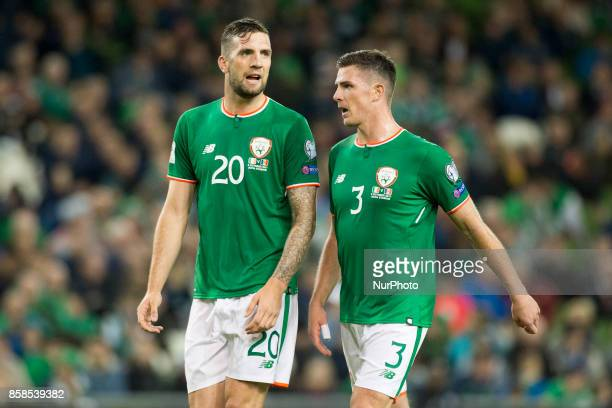 Shane Duffy and Ciaran Clark of Ireland during the FIFA World Cup 2018 Qualifying Round Group D match between Republic of Ireland and Moldova at...