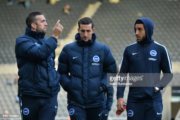 Shane Duffy Lewis Dunk and Connor Goldson of Brighton arrive for the Premier League match between Newcastle United and Brighton and Hove Albion at St...