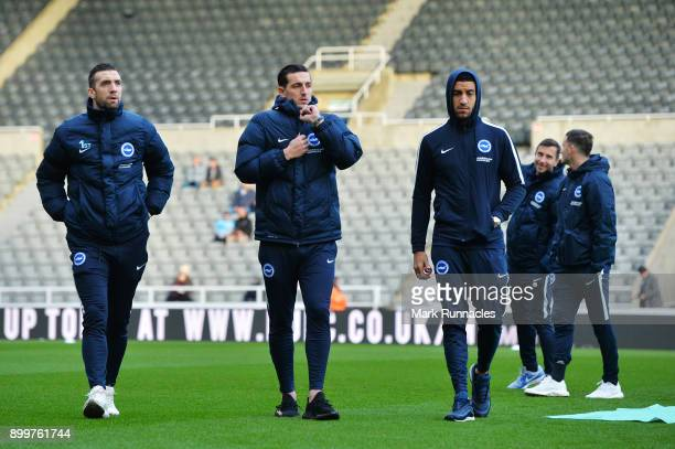 Shane Duffy Lewis Dunk and Connor Goldson of Brighton inspect the pitch prior to the Premier League match between Newcastle United and Brighton and...