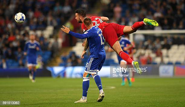 Shane Duffy of Blackburn challenges Kevin Pilkington of Cardiff during the Sky Bet Championship match between Cardiff City and Blackburn Rovers at...