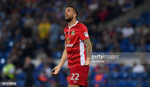 Shane Duffy of Blackburn reacts during the Sky Bet Championship match between Cardiff City and Blackburn Rovers at Cardiff City Stadium on August 17...