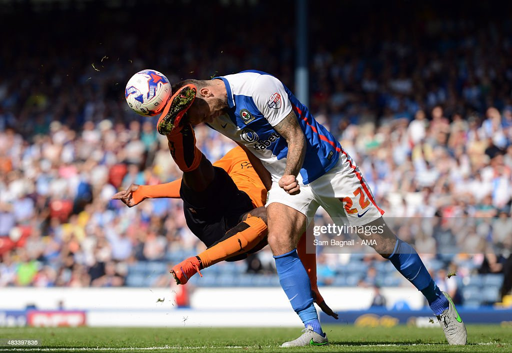 Shane Duffy of Blackburn Rovers gets a kick in the head from Nouha Dicko of Wolverhampton Wanderers during the Sky Bet Championship match between Blackburn Rovers and Wolverhampton Wandereres at Ewood park on August 8, 2015 in Blackburn, England.