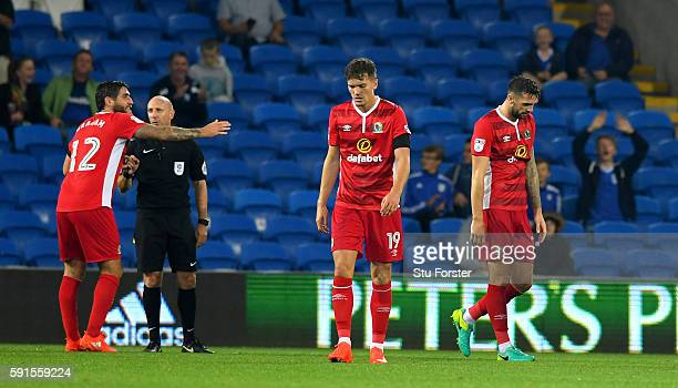 Shane Duffy of Blackburn scorer of two own goals in the match, reacts after being sent off during the Sky Bet Championship match between Cardiff City...