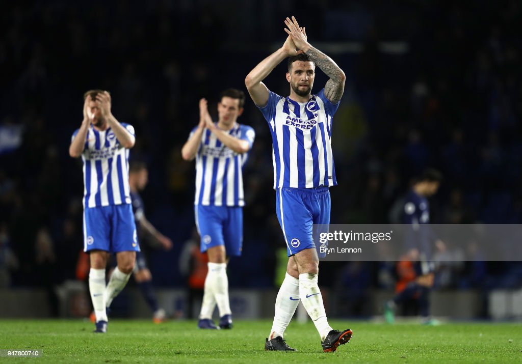 Shane Duffy of Brighton and Hove Albion applauds the fans after the Premier League match between Brighton and Hove Albion and Tottenham Hotspur at Amex Stadium on April 17, 2018 in Brighton, England.