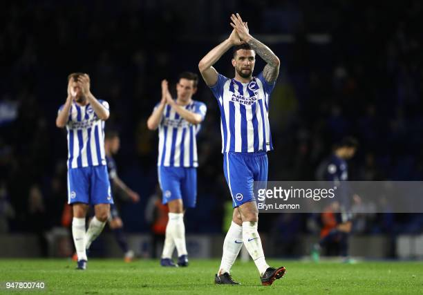 Shane Duffy of Brighton and Hove Albion applauds the fans after the Premier League match between Brighton and Hove Albion and Tottenham Hotspur at...