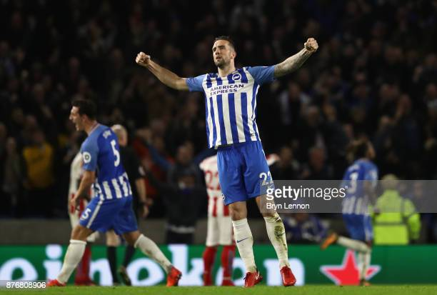 Shane Duffy of Brighton and Hove Albion celebrates after Jose Izquierdo of Brighton and Hove Albion scores his sides second goal during the Premier...